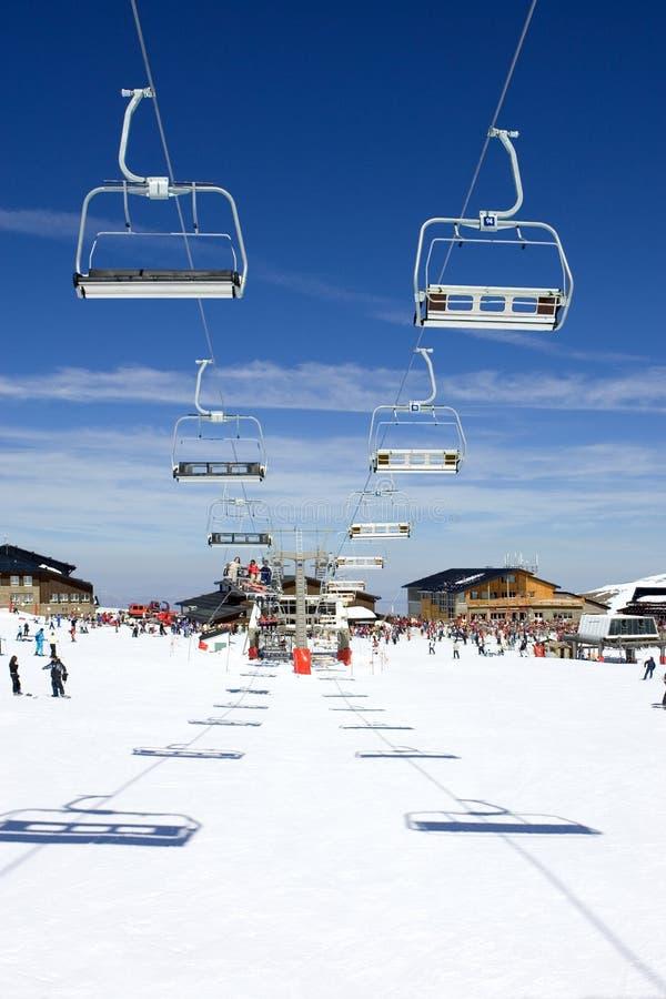 De hellingen van de ski van Pradollano skitoevlucht in Spanje stock fotografie