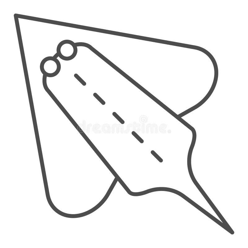 De hellingsvissen verdunnen lijnpictogram Elektrische pijlstaartrog vectordieillustratie op wit wordt geïsoleerd De stijlontwerp  vector illustratie