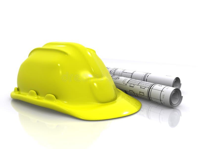 De helm en de blauwdrukken van de ingenieur stock illustratie