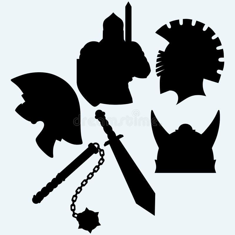 De helm, het zwaard en de foelie van de kruisvaarder metaalridder royalty-vrije illustratie