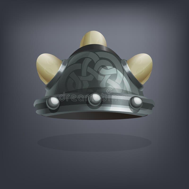 De helm van het de fantasiepantser van ijzerviking voor spel of kaarten royalty-vrije illustratie