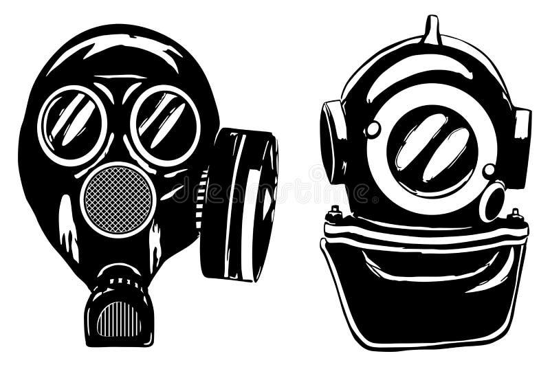 De helm van het gasmasker en van de diepe duiker royalty-vrije illustratie