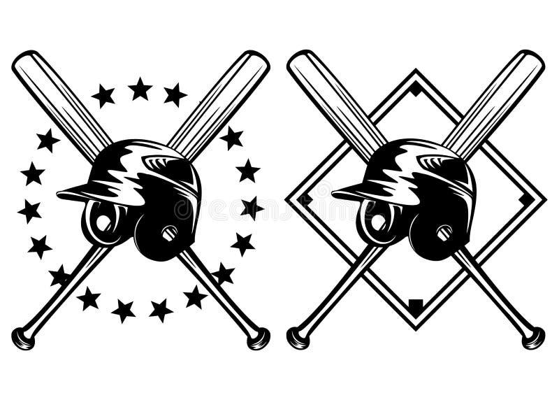 De helm van het honkbal en gekruiste knuppels vector illustratie