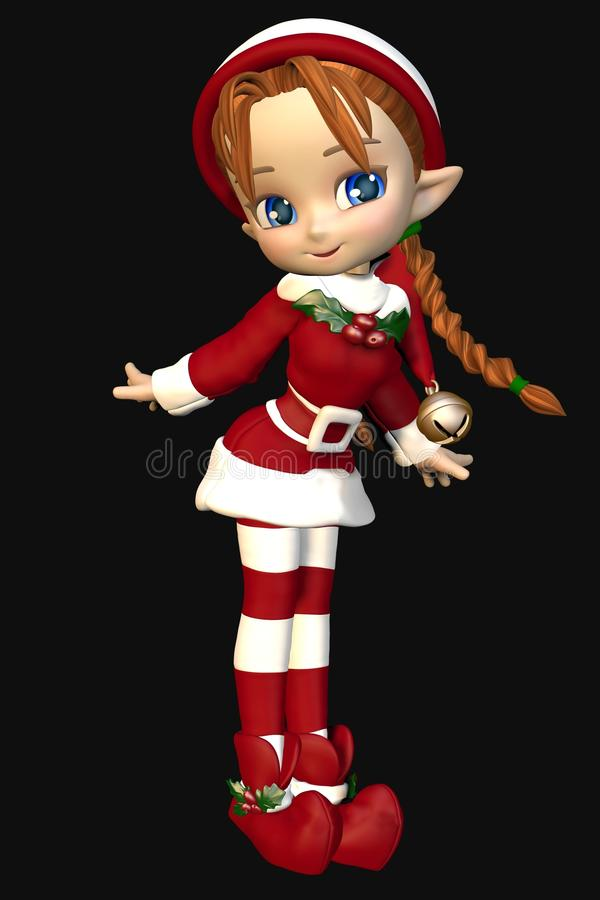 De Helper Leuke Toon Xmas Elf Girl van Santas royalty-vrije illustratie
