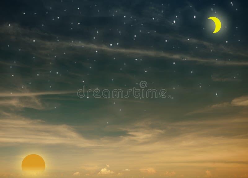 De hemel conceptuele achtergrond van de dag en van de nacht royalty-vrije stock foto's