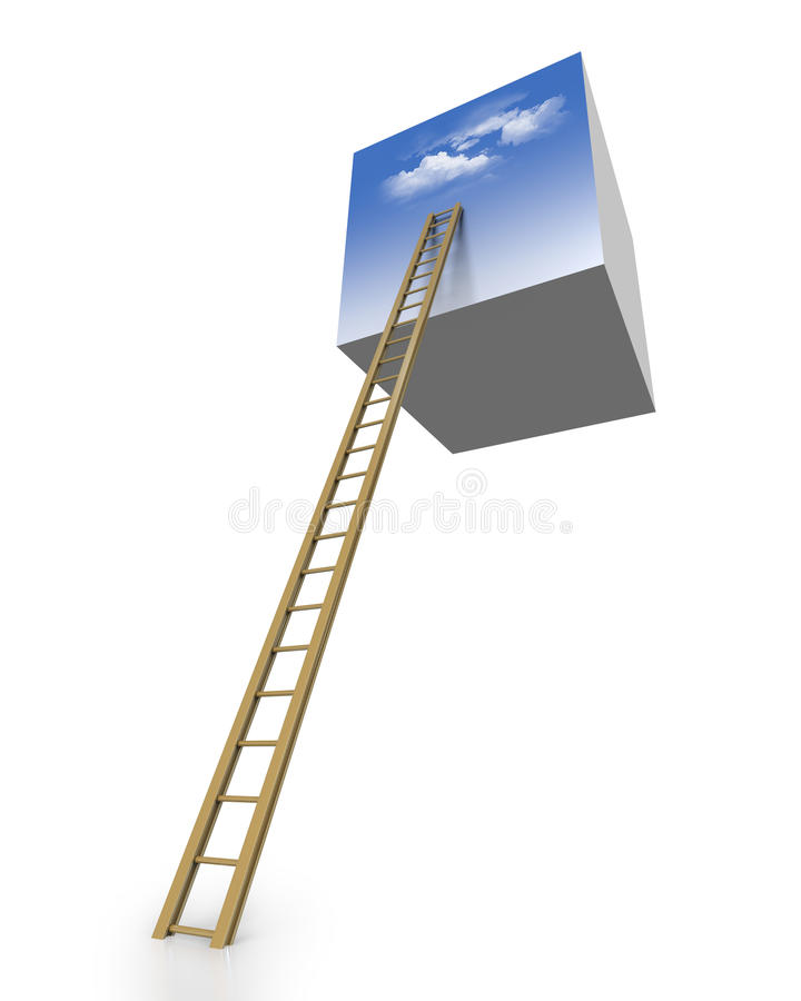 De hemel is de grens beklimmend de ladder vector illustratie