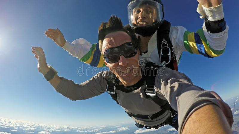De hemel duikt selfie achter elkaar royalty-vrije stock afbeeldingen