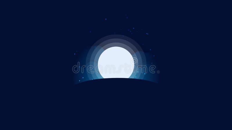 De Hemel van de achtergrond volle maanster Behang vector illustratie