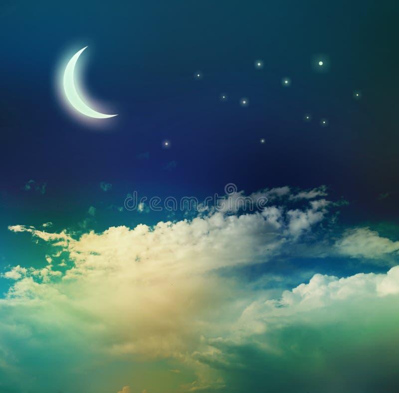 De hemel van de nacht met maan royalty-vrije stock afbeeldingen