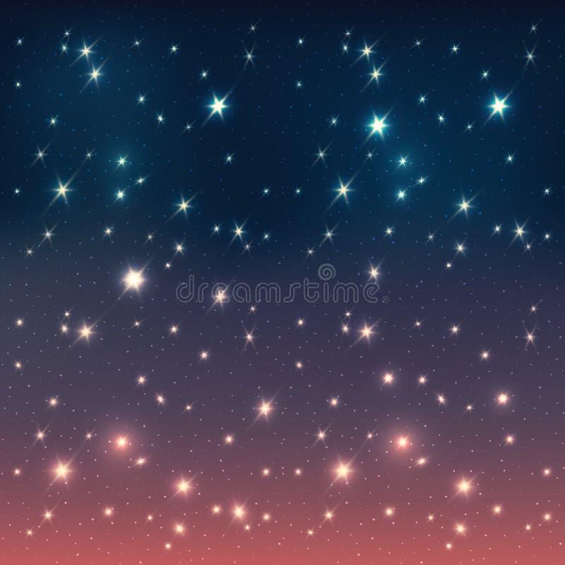De hemel van de nacht met sterren. Abstracte achtergrond vector illustratie
