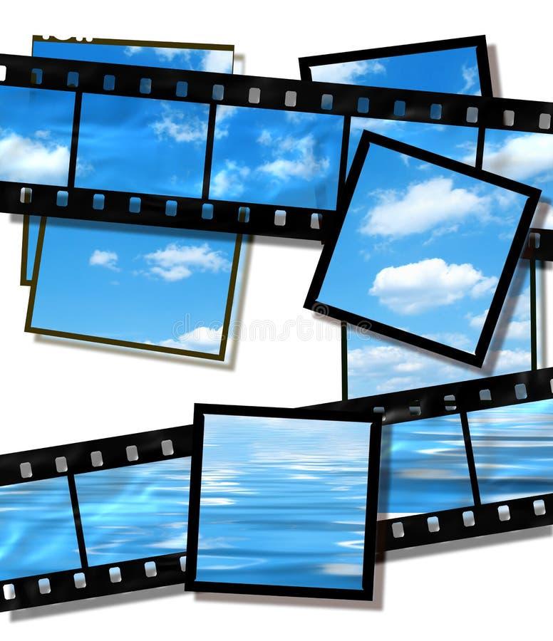De hemel van de zomer en oceaanbeeld, filmstrook op wit stock foto