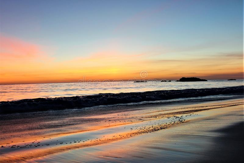De Hemel van de Laguna Beachzonsondergang stock foto's