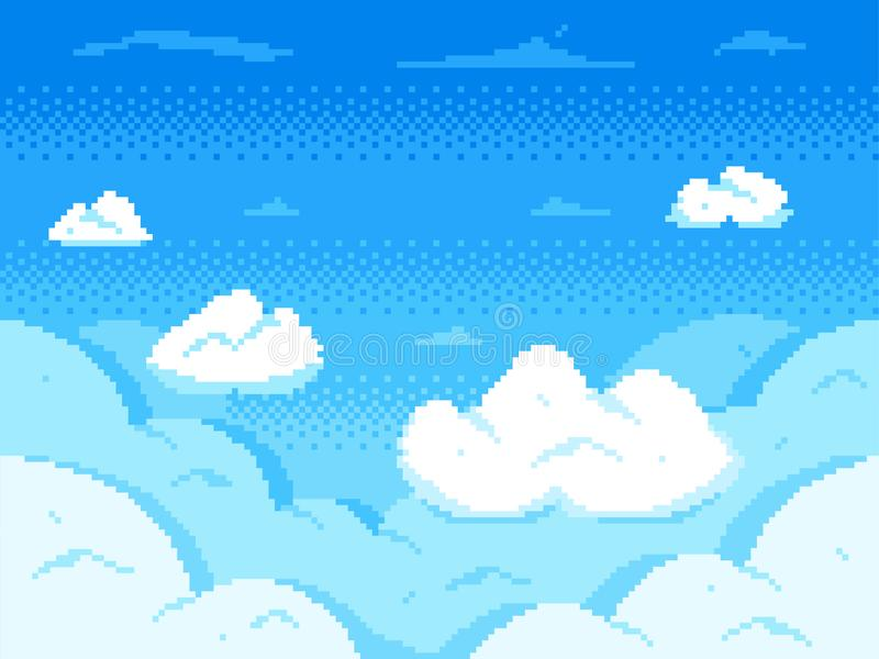 De hemel van de pixelkunst Wolkenhorizon met 8 bits, retro landschap van de videospelletjewolk en bewolkte vectorachtergrond vector illustratie