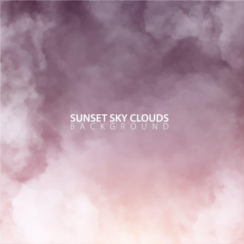 De hemel van de zonsondergangavond met witte realistische wolken Vector illustratie royalty-vrije illustratie