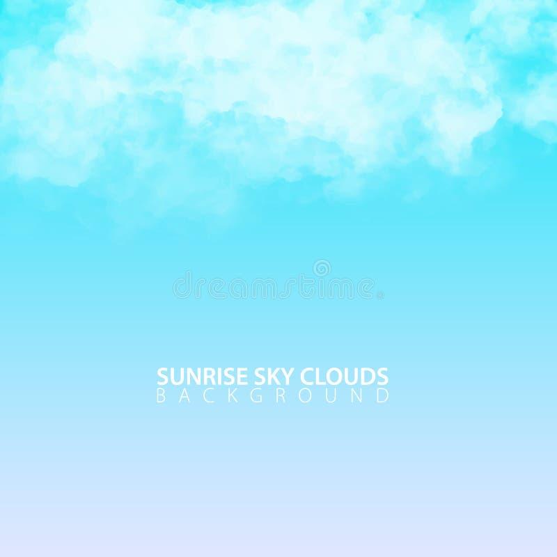 De hemel van de zonsopgangochtend met witte realistische wolken Vector illustratie royalty-vrije illustratie