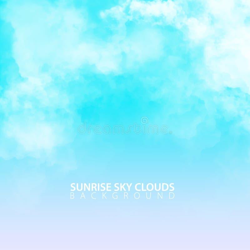 De hemel van de zonsopgangochtend met witte realistische wolken Vector illustratie stock illustratie