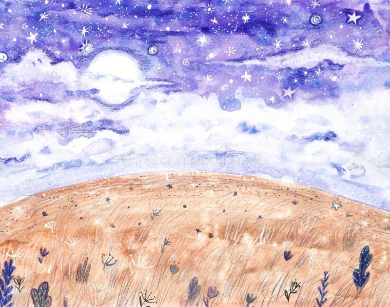 De hemelachtergrond van de waterverfnacht met volle maan en sterren Hand getrokken sterrige hemelillustratie stock illustratie