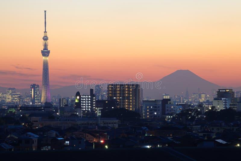 De hemelboom en Fuji van Tokyo royalty-vrije stock afbeelding