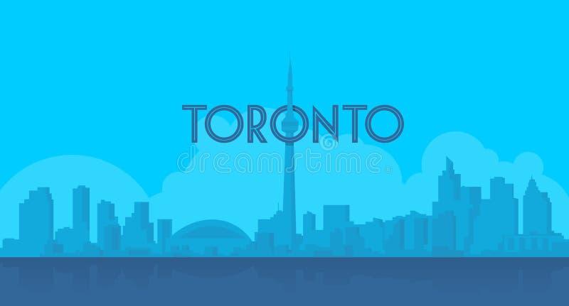 De hemeloriëntatiepunt van Toronto in vlakke blauwe shilhouette stock illustratie