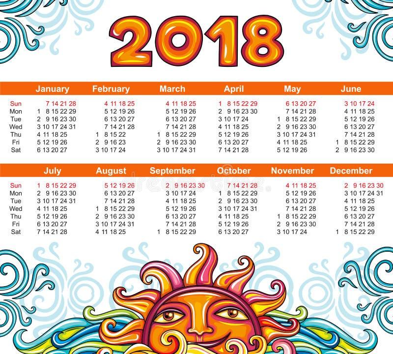 De hemelstijl van het kalender 2018 jaar De week begint Zondag royalty-vrije illustratie