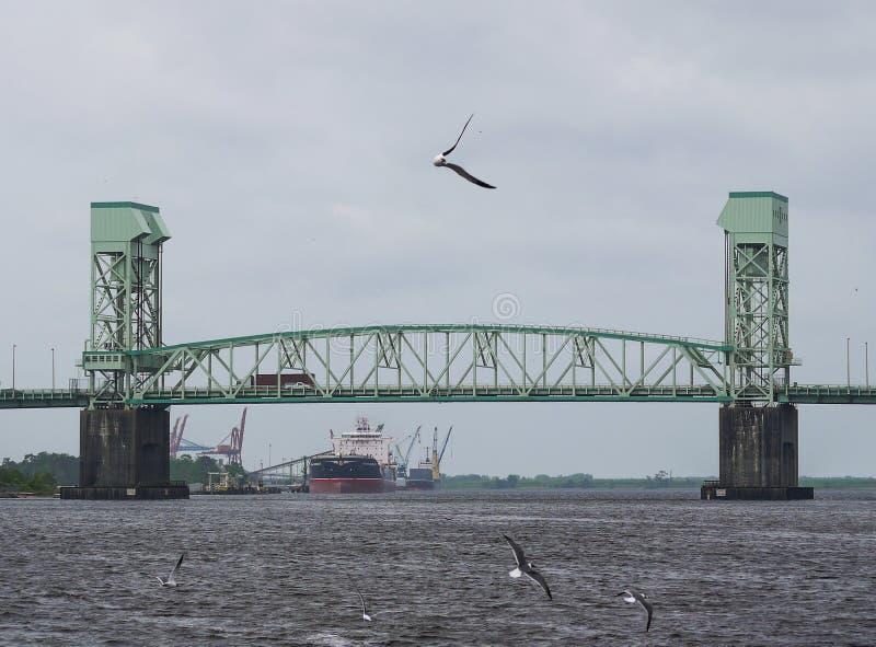De Herdenkingsbrug van de kaapvrees in Wilmington, NC stock afbeeldingen