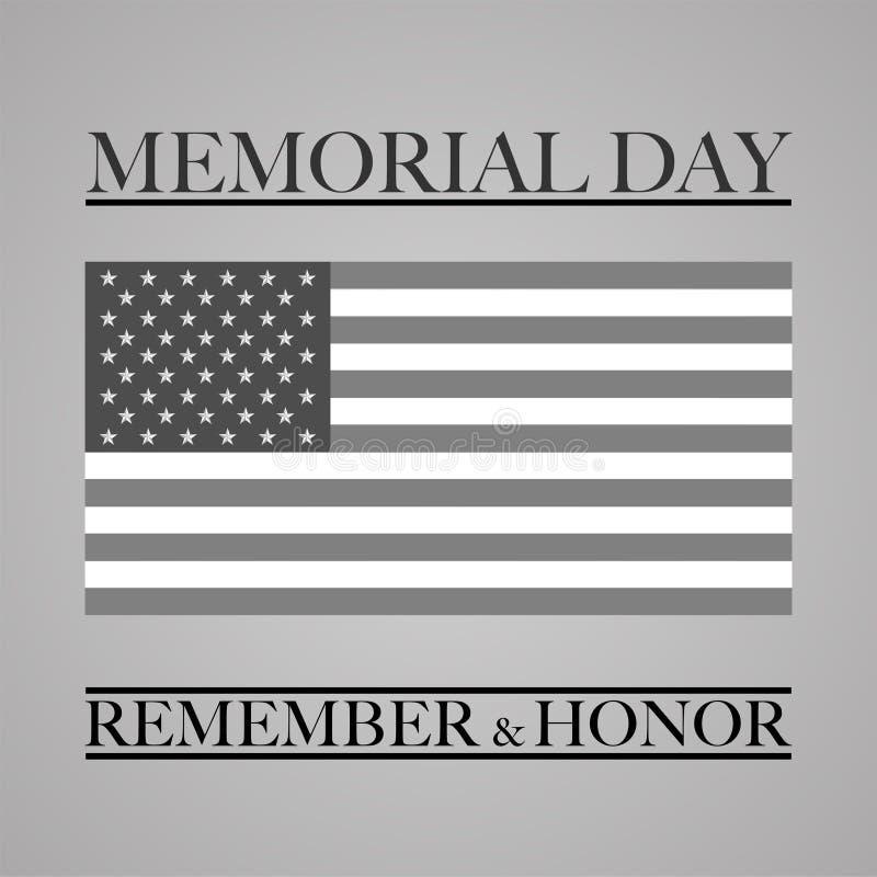 De herdenkingsdag herinnert en eert de vlag van de V.S. royalty-vrije illustratie