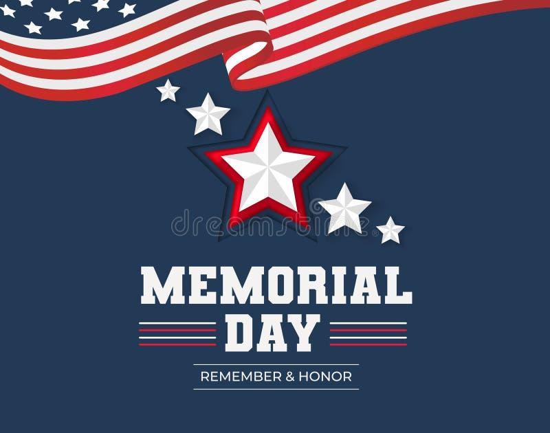 De herdenkingskaart van de daggroet Herinner en eer Herdenkingsdagachtergrond met de vlag en de sterren van de V.S. Vector illust royalty-vrije illustratie