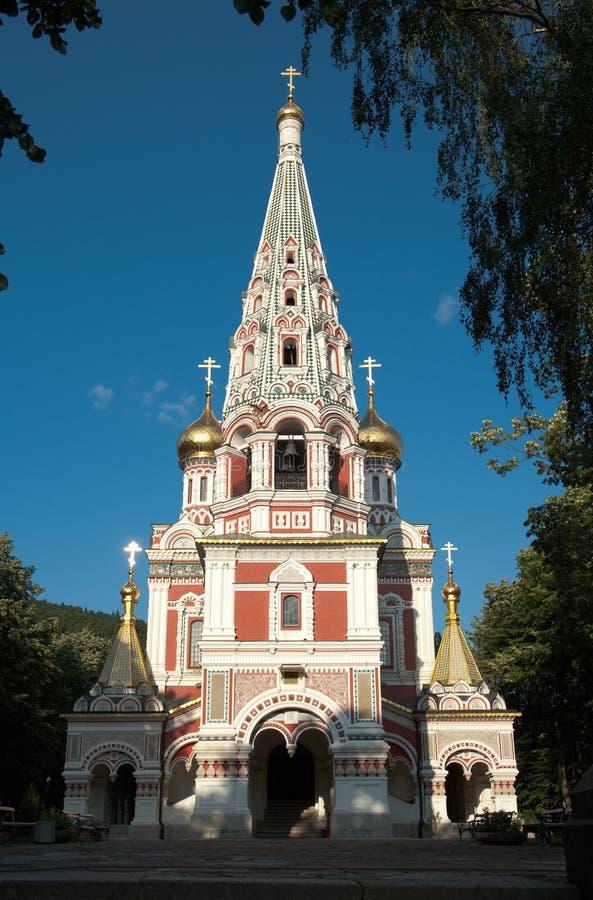 De HerdenkingsKerk van de geboorte van Christus in Shipka, Bulgarije stock afbeelding