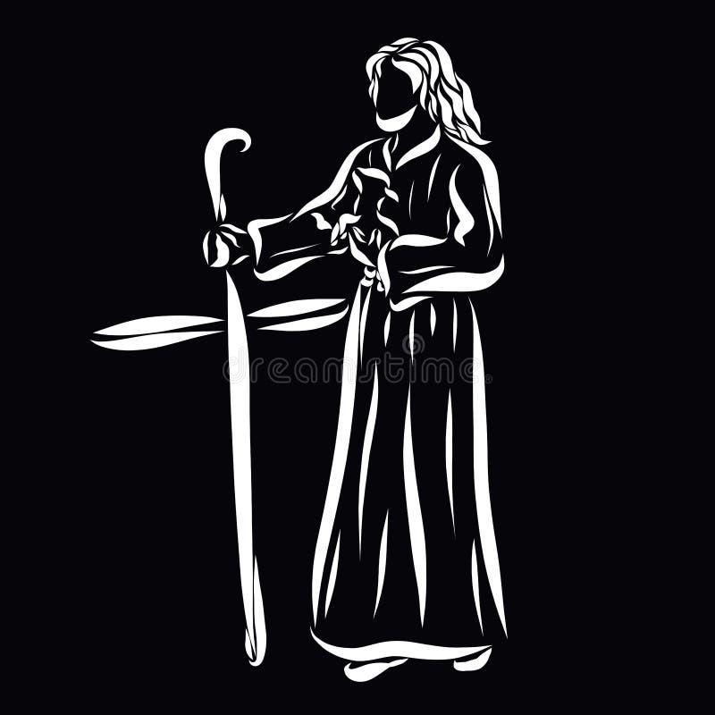 De Herder Jesus met een lam in zijn wapens en met een personeel in t vector illustratie