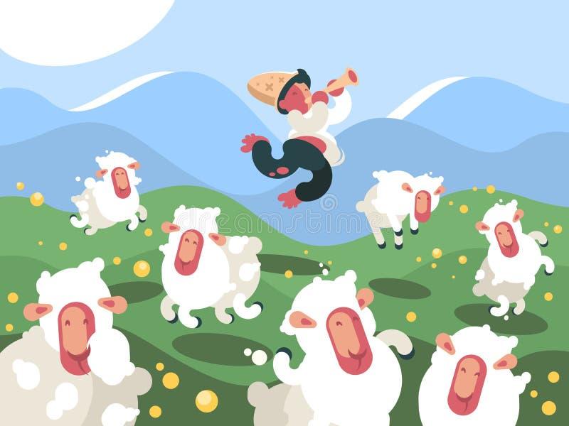 De herder weidt kudde van schapen vector illustratie