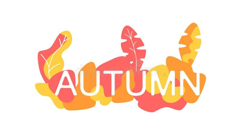 De herfst achtergrondlay-out, multi de kleurentekst van de Webbanner Vector herfstontwerp voor pamflet of affiche Vlak Ontwerp royalty-vrije illustratie