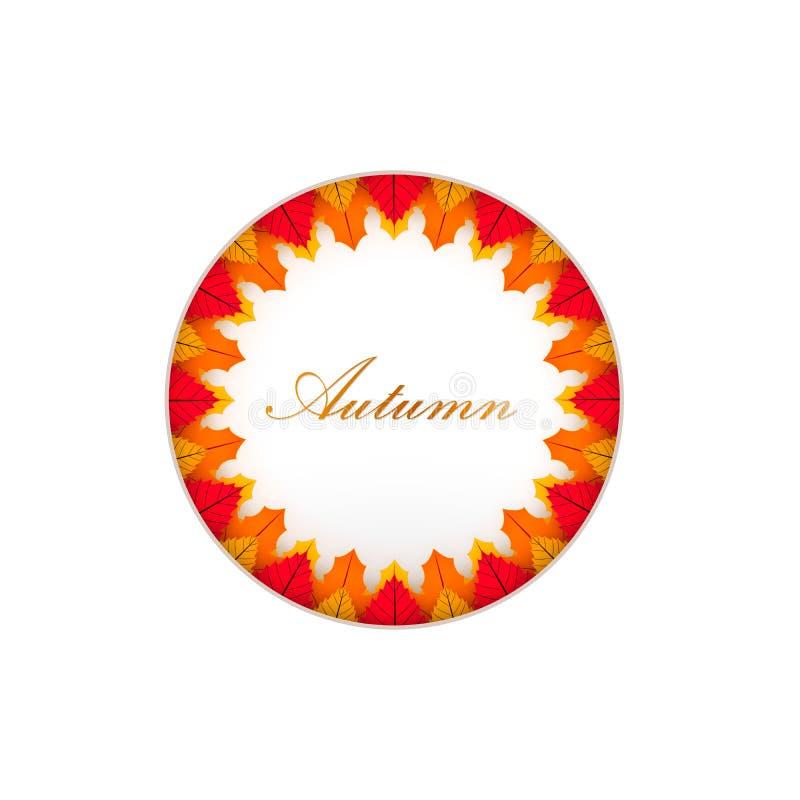 De herfst de achtergrondlay-out verfraait met bladeren Affiche en achtergrond van het de herfst de de vectorontwerp Vectorillustr royalty-vrije illustratie