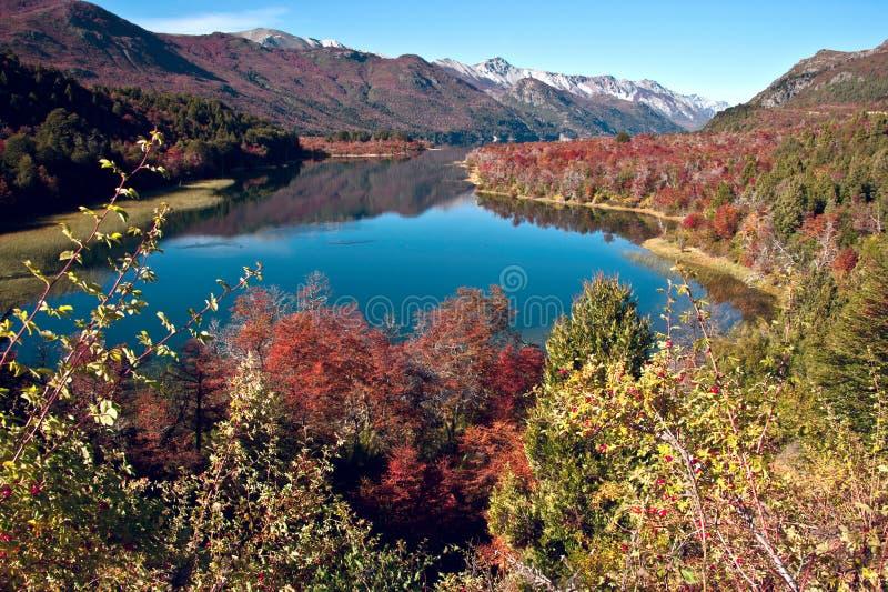 De herfst in Bariloche, Patagonië, Argentinië stock foto