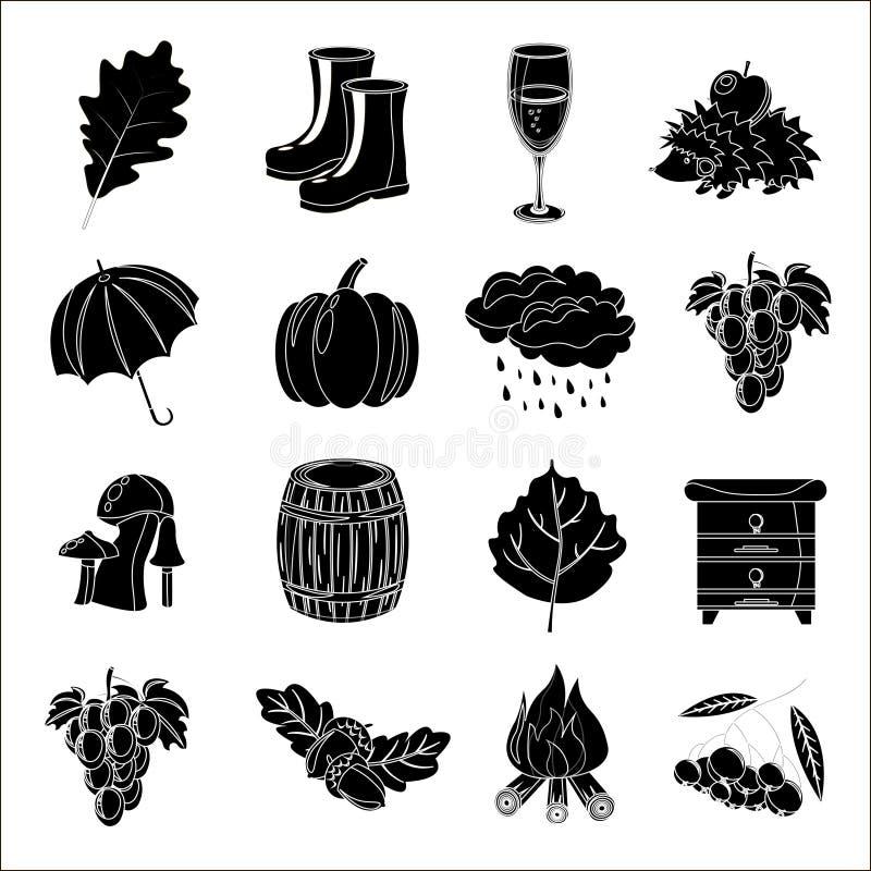 De herfst Beeldverhaal en vlakke stijl Pictogramvoorwerpen voor ontwerp met achtergrond worden geplaatst die stock illustratie