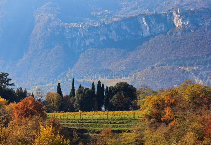 De herfst in bergen van Trentino stock fotografie