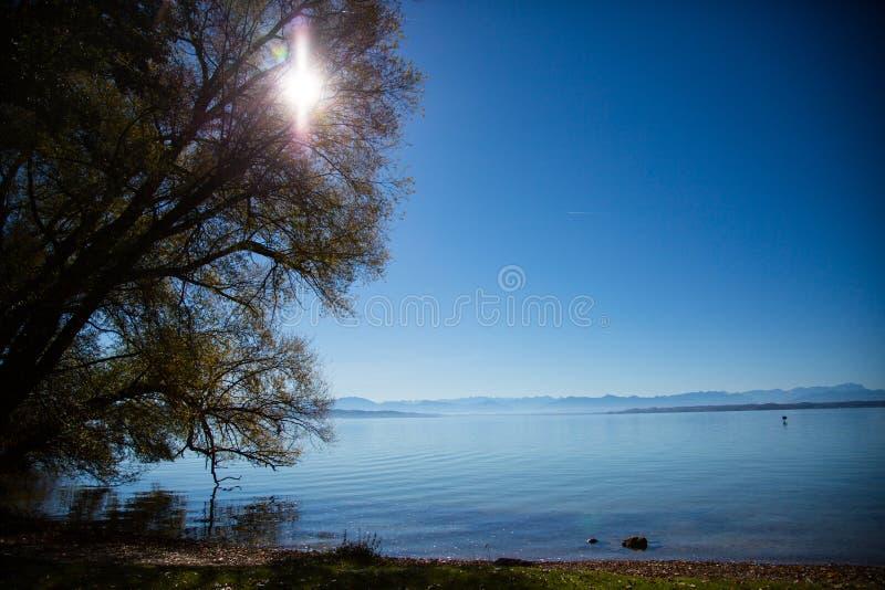 De herfst bij Meer Starnberg, heldere blauwe hemel, schitterend water royalty-vrije stock afbeelding