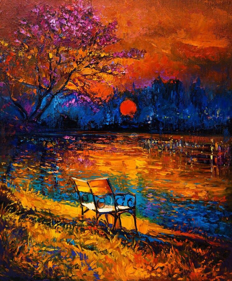 De herfst bij zonsondergang royalty-vrije illustratie