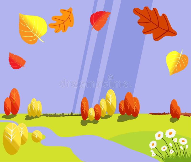 De herfst blauw landschap met bomen en rivier De regenachtige herfst royalty-vrije illustratie
