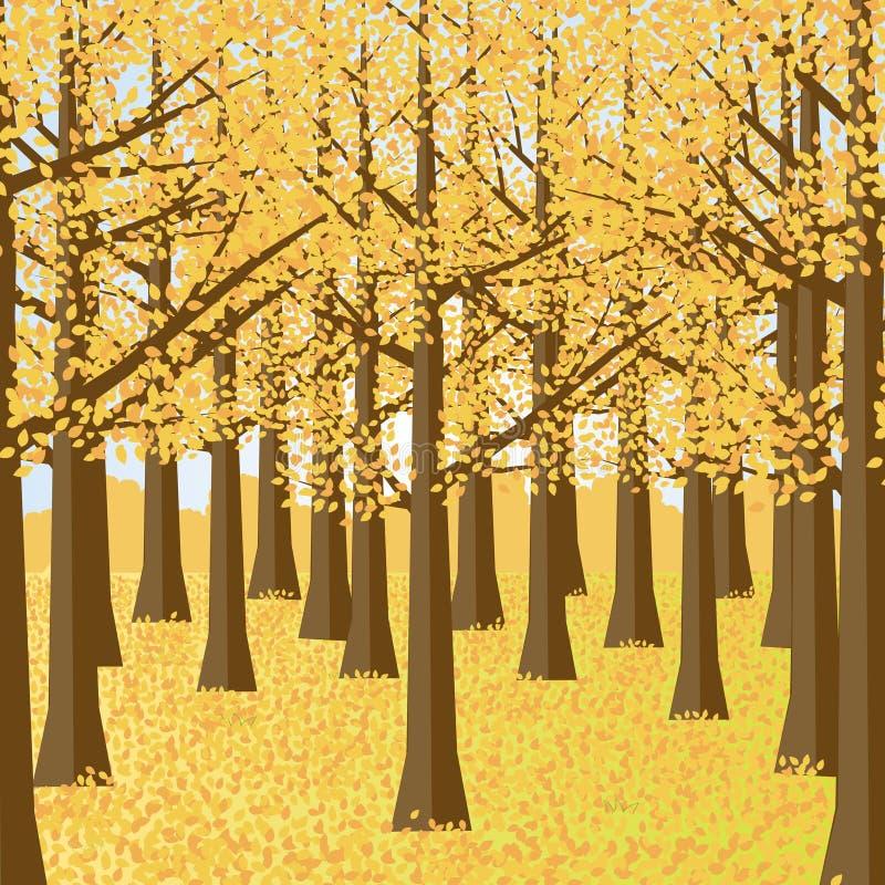De herfst boslandschap De tuin van de herfst Een kar met een stapel van gevallen bladeren royalty-vrije illustratie