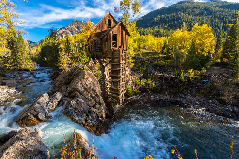 De herfst in Crystal Mill Colorado Landscape royalty-vrije stock foto
