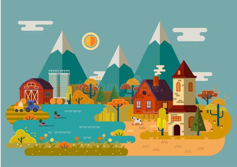 De herfst of daling bij dorp of platteland royalty-vrije illustratie