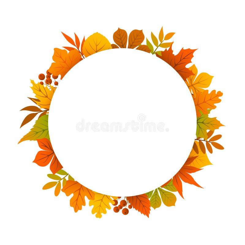 De herfst, daling, dankzegging om cirkelkader vector illustratie