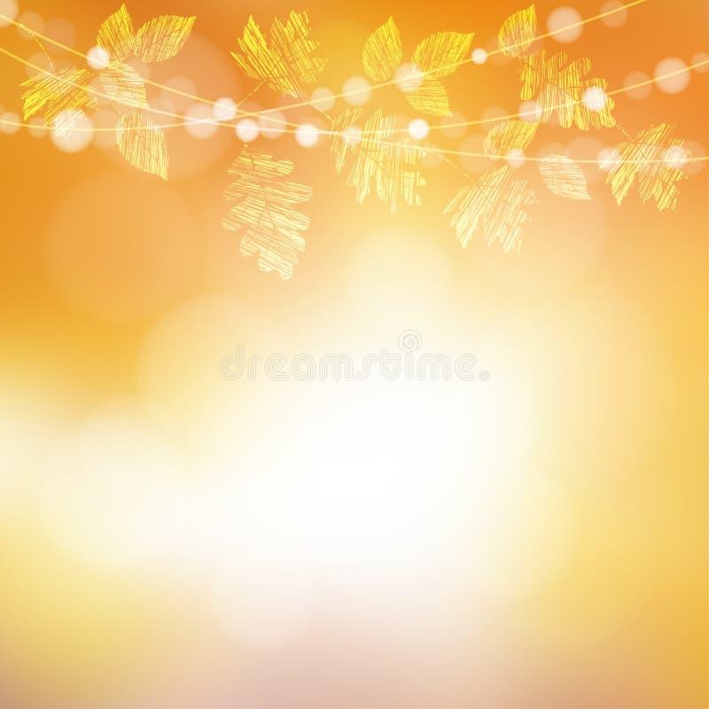 De herfst, dalingsachtergrond Groetkaart met esdoorn, eiken bladeren en bokeh lichten royalty-vrije illustratie