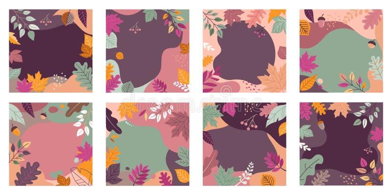 De herfst, dalingsbanners, inzameling van abstracte ontwerpen als achtergrond, dalingsverkoop, sociale media promotieinhoud Vecto vector illustratie