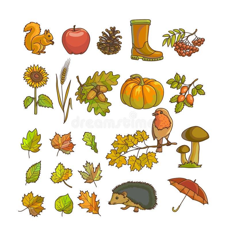 De herfst of dalingspictogram en voorwerpen voor ontwerp wordt geplaatst dat vector illustratie