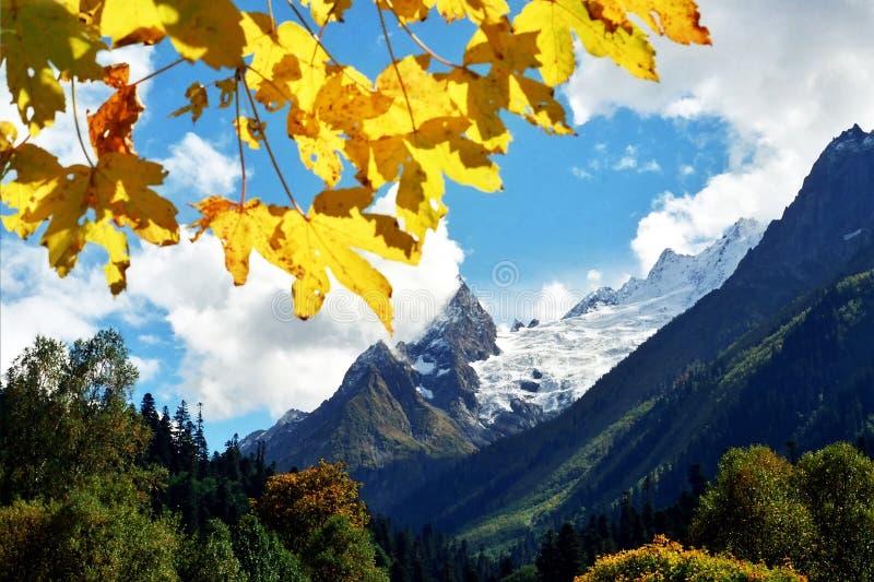 De herfst in de bergen van de Kaukasus stock foto