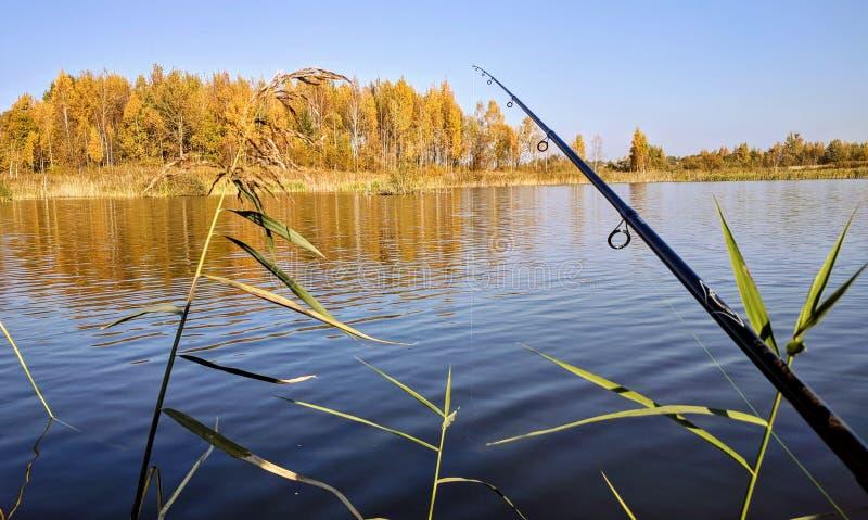 De herfst die op het meer vissen royalty-vrije stock afbeeldingen