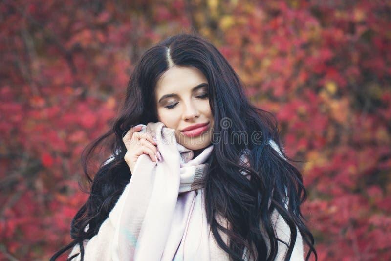 De herfst donkerbruine vrouw die op rode bladerenachtergrond glimlachen royalty-vrije stock afbeelding