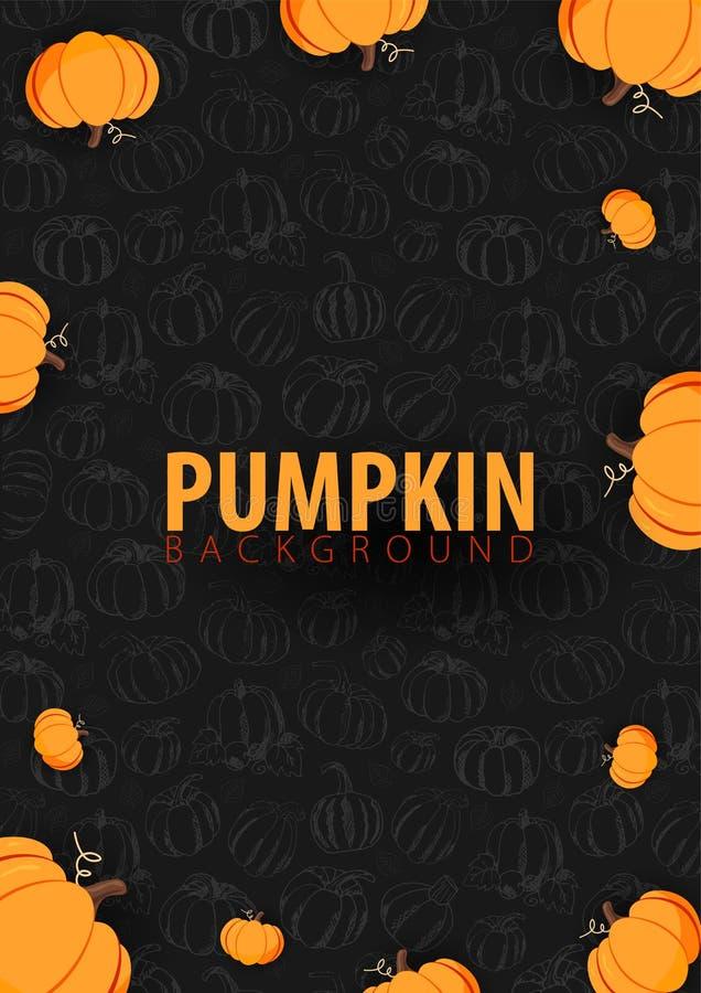 De herfst donkere Achtergrond met Pompoen voor het winkelen verkoop, promoaffiche en kaderpamflet, Webbanner Vectorillustratiemal stock illustratie