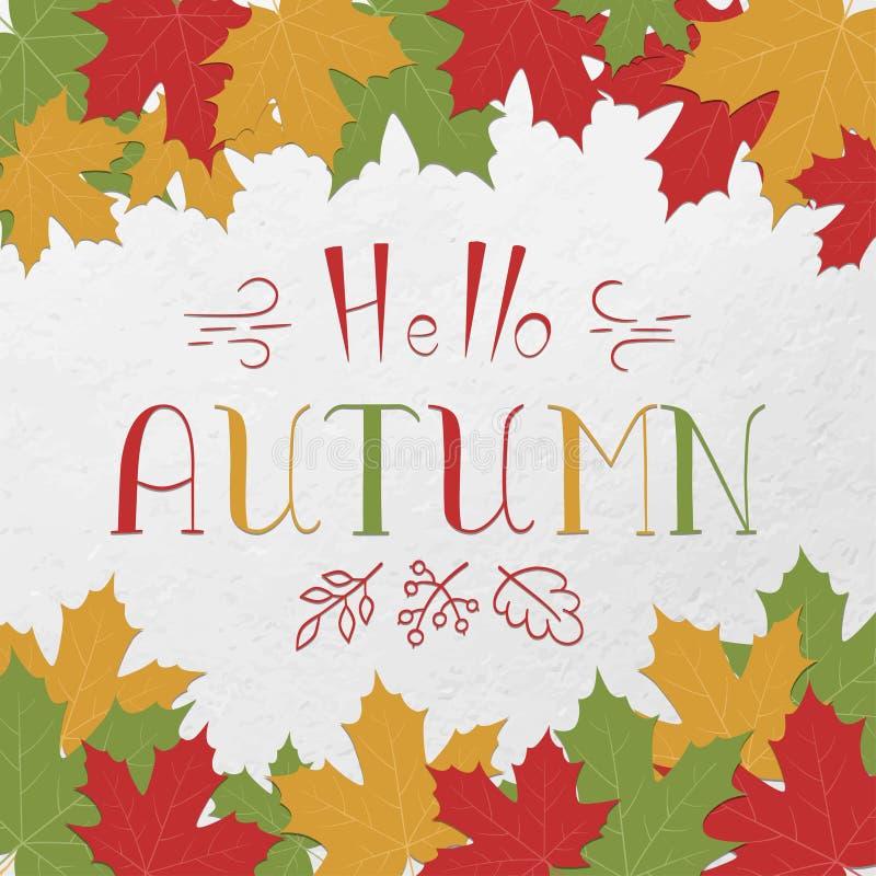 De herfst en de esdoornbladeren van teksthello lettering Kleurrijke vectorkaart Hand het drawning vector illustratie